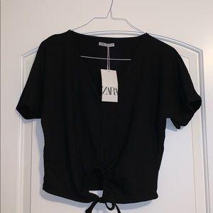 Black crop top with keyhole tie